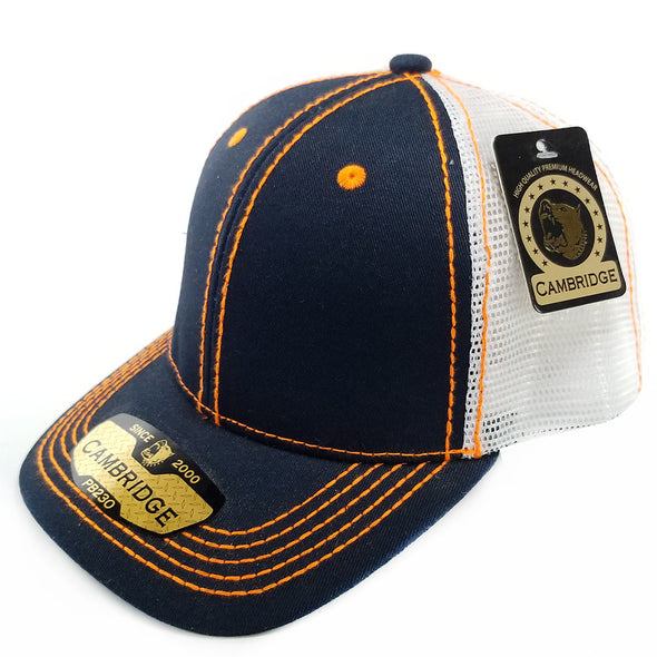 PB230 Pit Bull Cambridge Structured Trucker Hat [Navy/N.Orange]