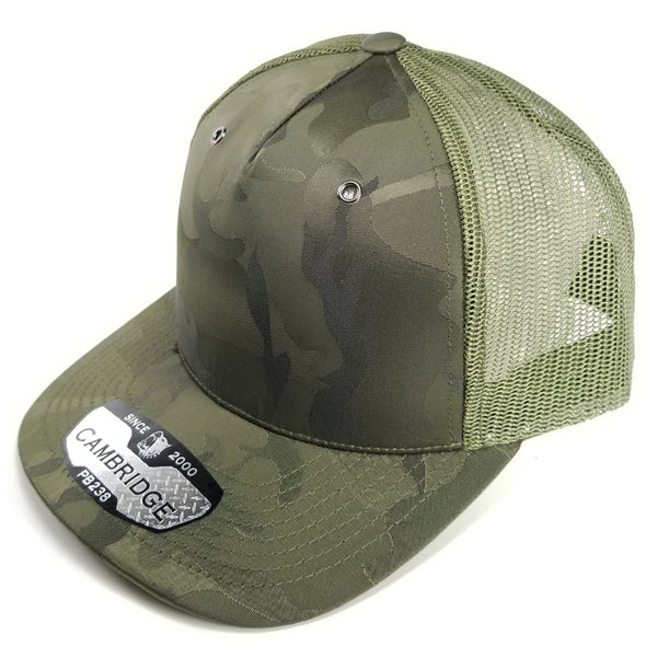PB238 Pit Bull Cambridge 5 Panel Shiny Camo Trucker [Olive]