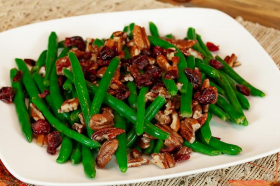 Green Beans With Caramelized Pecans & Cranberries