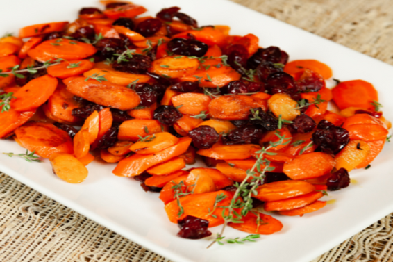 Carrots With Thyme & Decas Farms Dried Cranberries