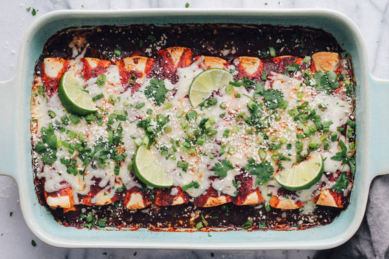 Chicken Sweet Potato Enchiladas with Cranberry Chipotle Sauce