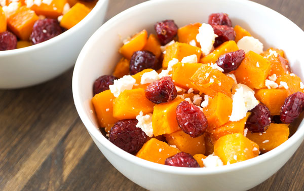 Roasted Butternut Squash with Cranberries, Walnuts, and Goat Cheese Crumbles