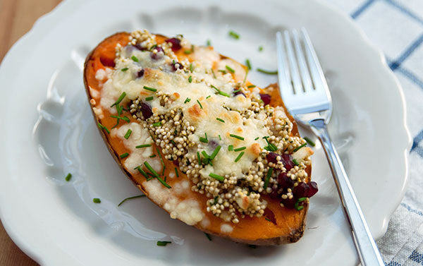 Cranberry Quinoa Stuffed Sweet Potatoes