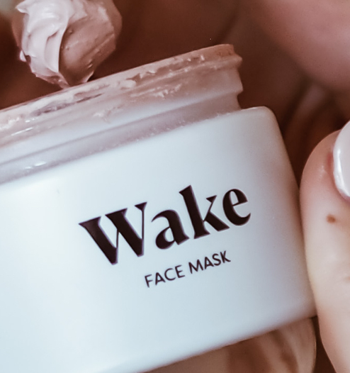 wake face mask, girl using wake face mask, pink clay