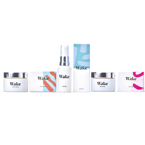 clear skin kit set including wake eye gel, wake face cream & wake face mask