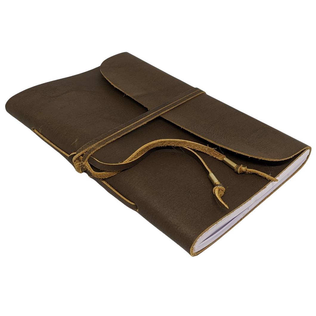 HYDE A5 LINED WRAP NOTEBOOK (FULL GRAIN LEATHER-BACK LOGO)