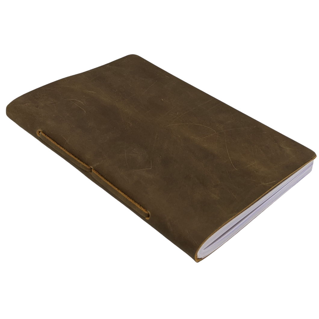 Lined A5 Rustic Leather Notebook