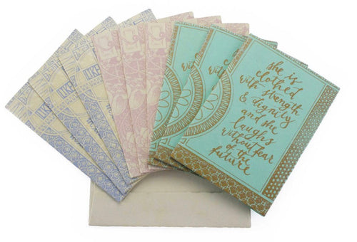 Hand Made Paper Card Set - She is Clothed in Strength and Dignity