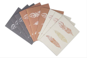 Hand-pressed Upcycled Cotton Paper Cards (Feathers, Set of 9, *Blank Inside*)