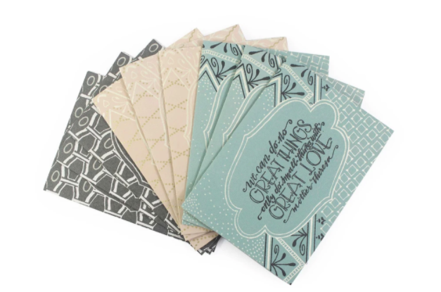 Hand-pressed Upcycled Cotton Paper Cards (Great Things, Great Love Set of 9, *Messages Inside*)