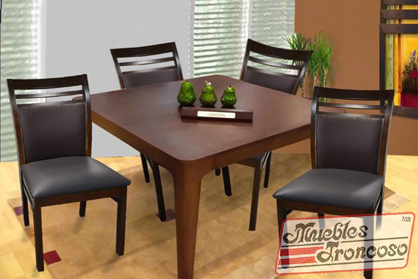 ANTECOMEDOR LONDON CON 4 SILLAS TULIP CHOCOLATE