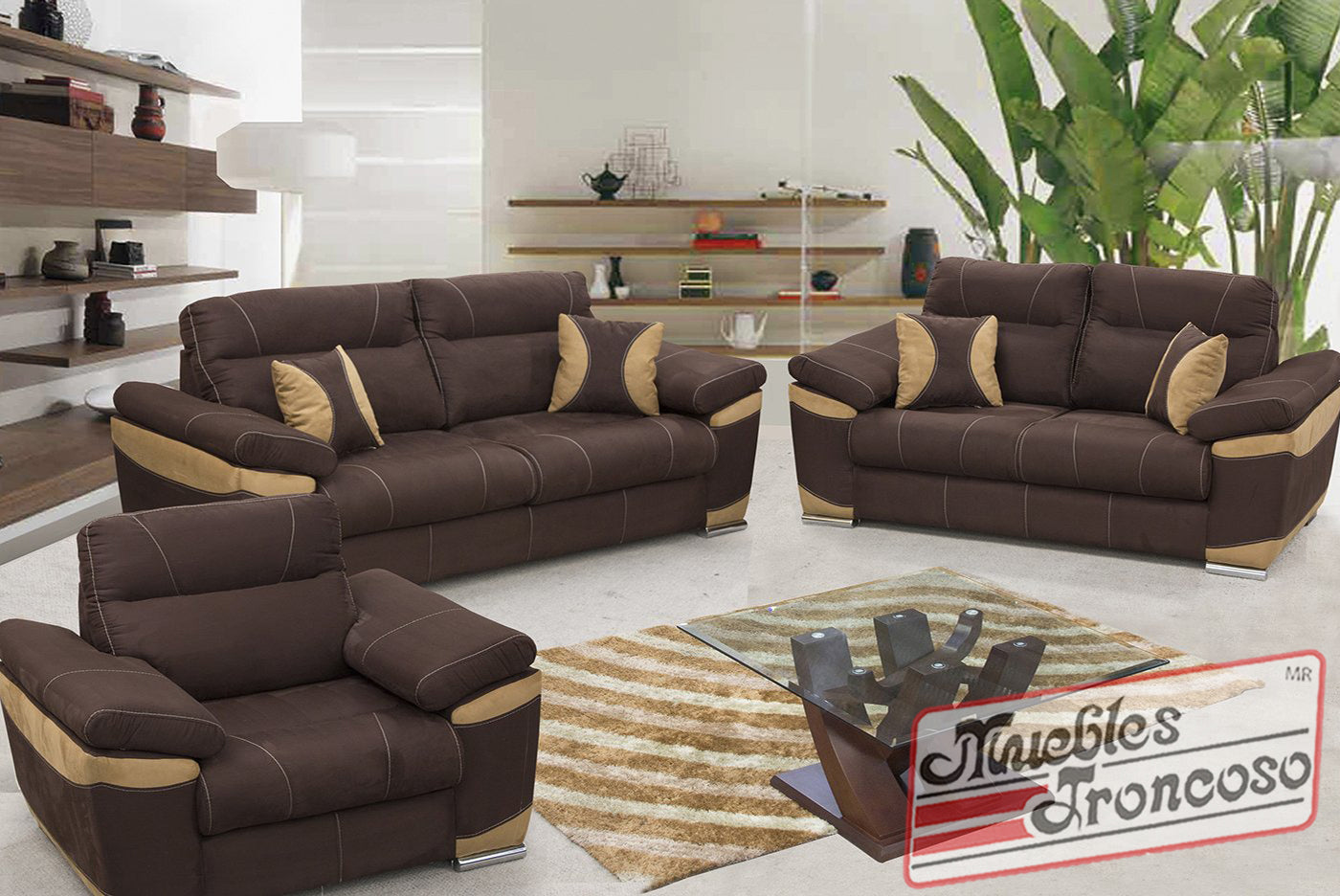Sala panama chocolate muebles troncoso for Paredes grises y muebles marrones