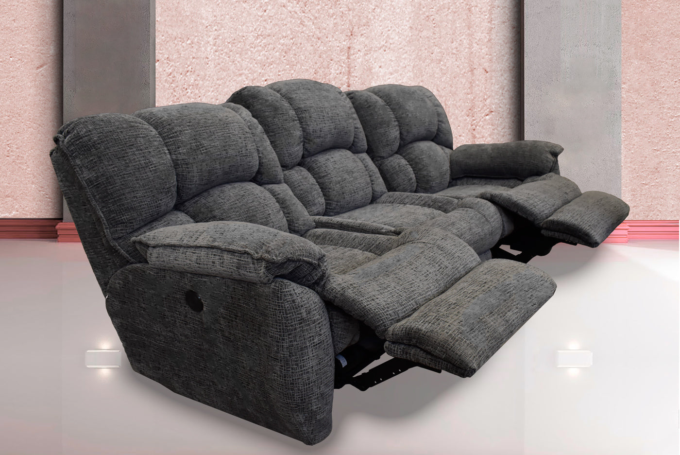 SOFA 739 RECLINABLE ELECTRICO BOARDWALK GREY - Muebles Troncoso