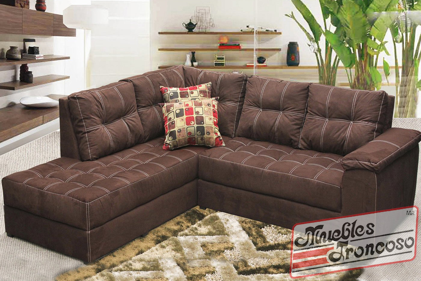 Sala milly modular chocolate muebles troncoso for Muebles troncoso salas