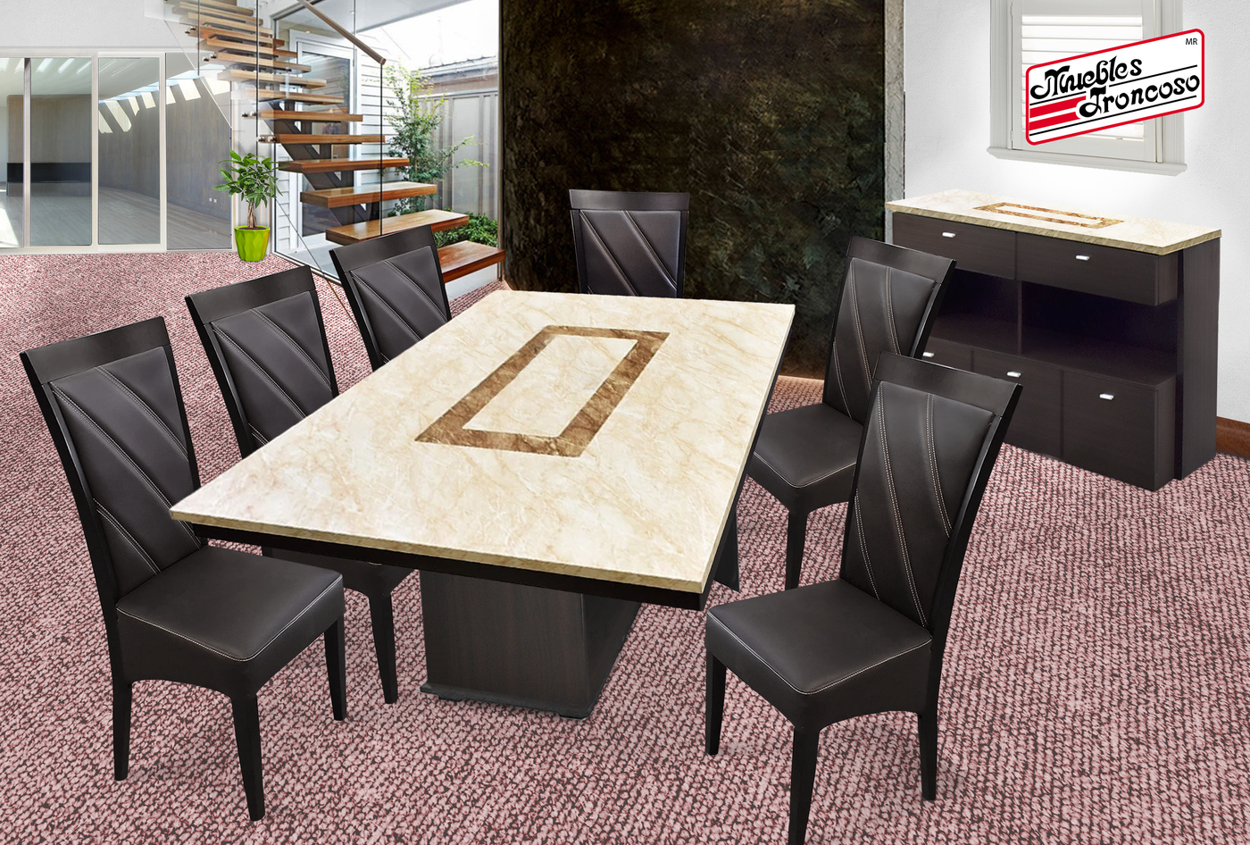 ANTECOMEDOR SHENZEN RECTANGULAR CON 6 SILLAS CONTINENTAL CHOCOLATE