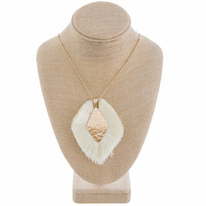 Tassel Pendant Necklace, Ivory
