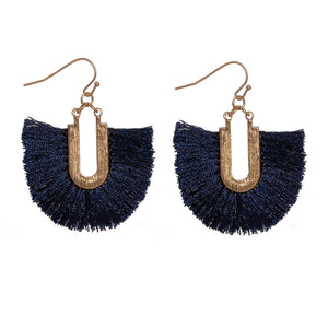 Fringe Tassel Earrings, Navy