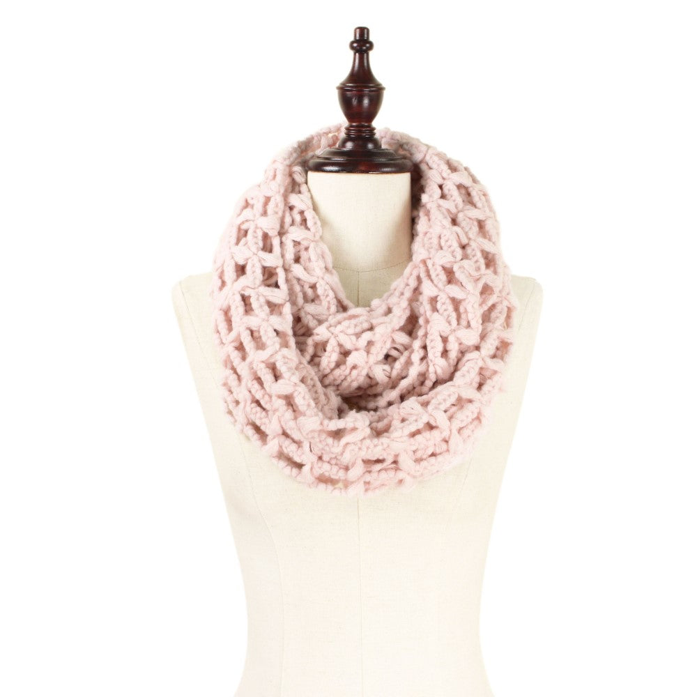 Infinity Large Knit Scarf, Soft Pink