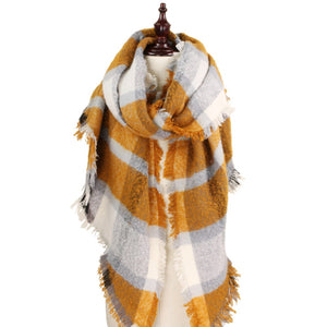 Chunky Scarf, Ivory & Mustard Yellow