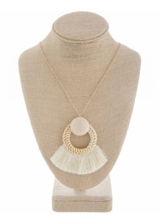 Wooden Tassel Necklace-Ivory