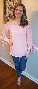 Spring Forward Off Shoulder Light Pink Top