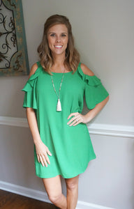My Sweet Wish Cold Shoulder Dress, Apple Green