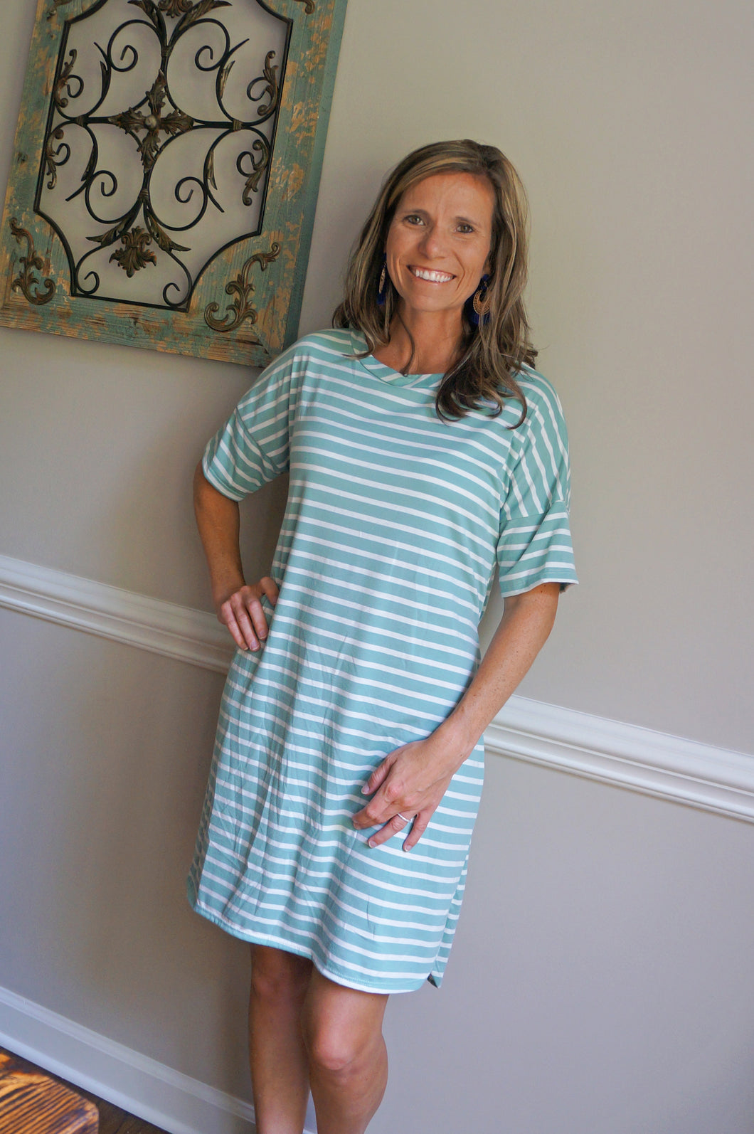 Sweet In Stripes Dress, Sage