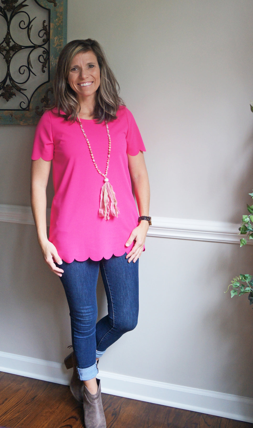 Shine Bright Scalloped Top, Hot Pink