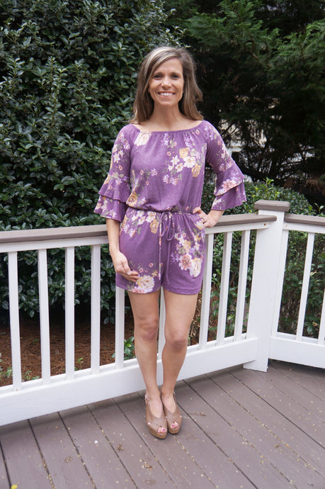 Beach Is Calling Romper, Purple