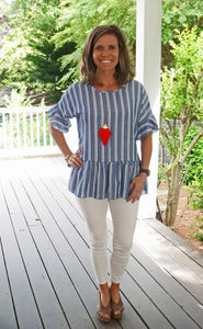 All You Need Stripe Top, Blue