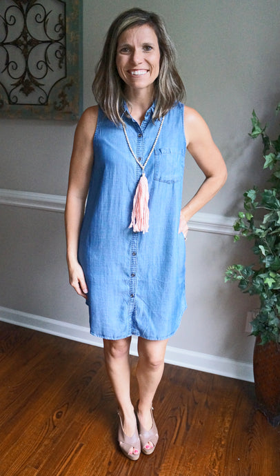 We Go Together Dress, Dark Chambray
