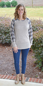 Plaid In Love Sweater, Taupe