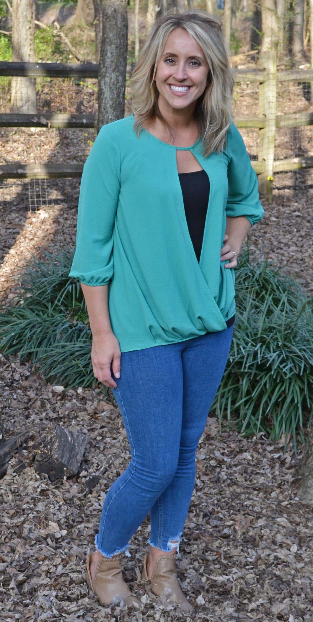 On The Go Blouse, Tiffany Blue