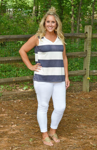 Party In Stripes Tank, Navy