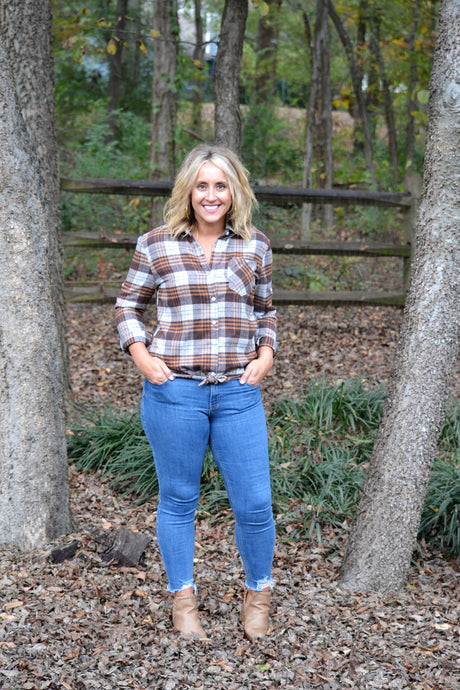Perfectly Plaid Top, Brown+Rust