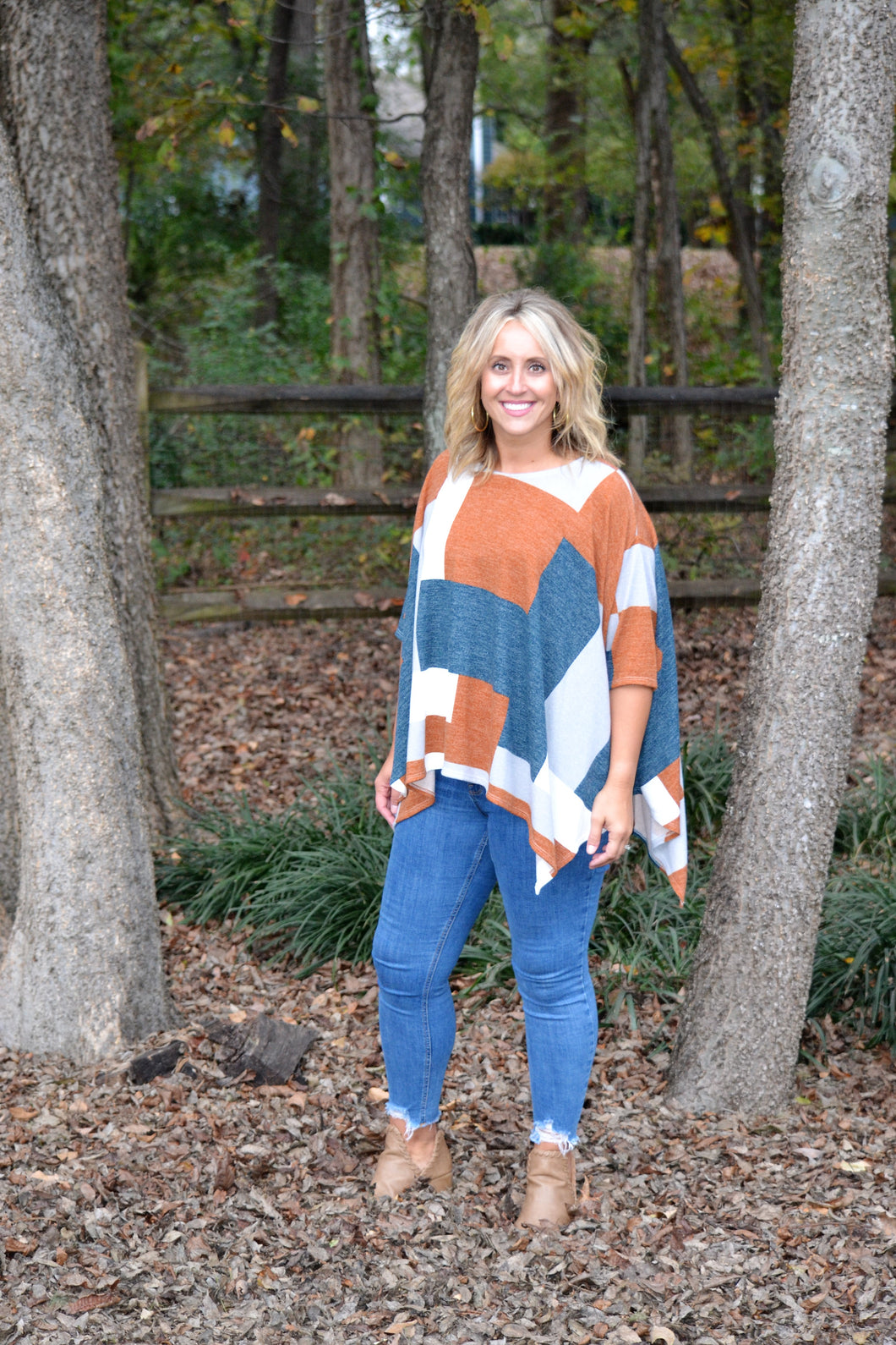 Beauty of Fall Poncho, Rust