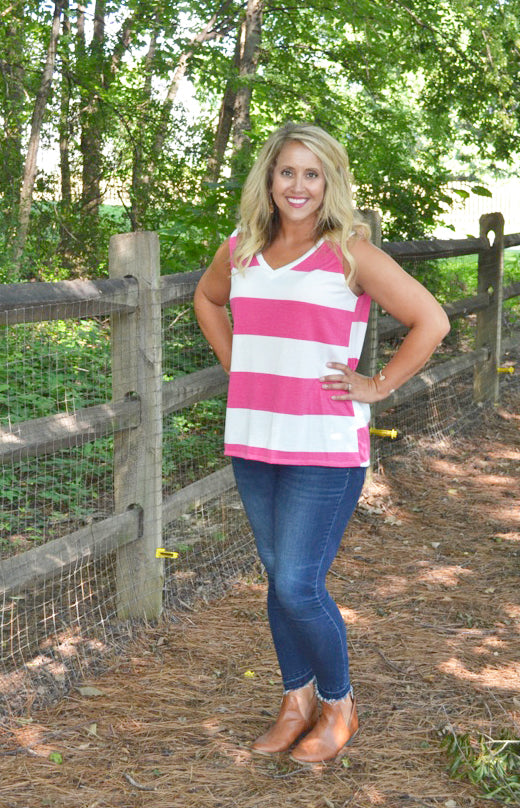 Party In Stripes Tank, Pink