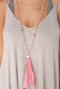 Rose Fabric Beaded Necklace