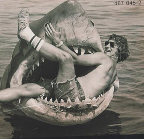 steven spielberg in Jaws mouth