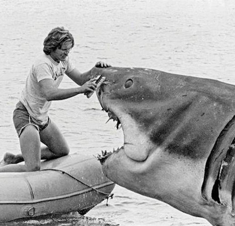 Steven Spielberg cleaning the mechanical shark for jaws photo