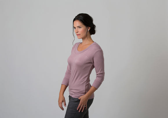 Wanda - Scoop Neck Sweater - Dusty Pink