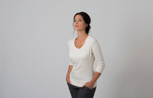Wanda - Scoop Neck Sweater - White