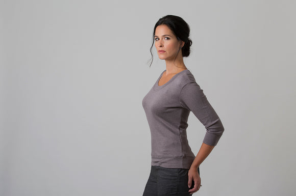 Wanda - Scoop Neck Sweater - Mink Grey