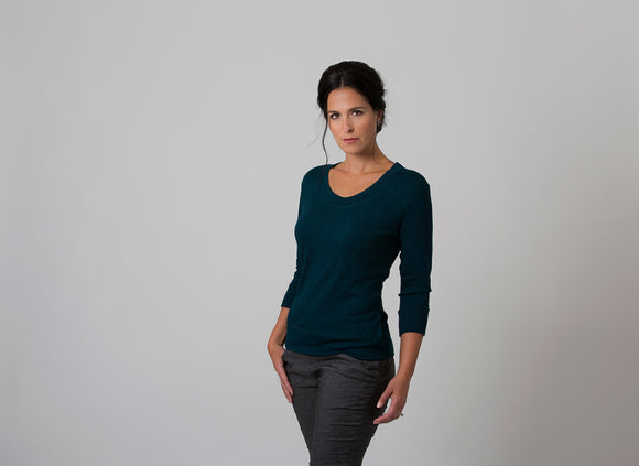 Wanda - Scoop Neck Sweater - Evergreen