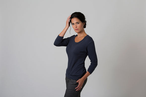 Wanda - Scoop Neck Sweater - Navy Blue