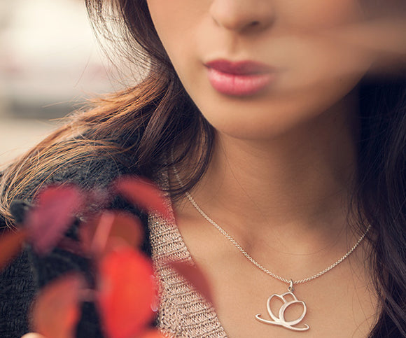 Charmed Lotus Necklace, Sterling Silver
