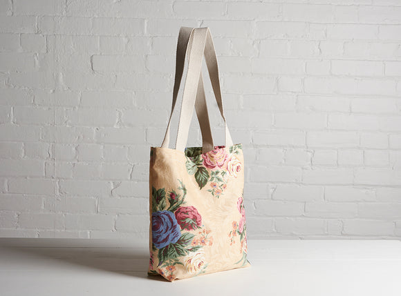 Cream Flower Tote Bag