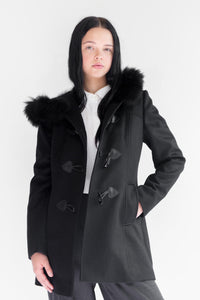 ANCA Black Aplaca Wool Coat