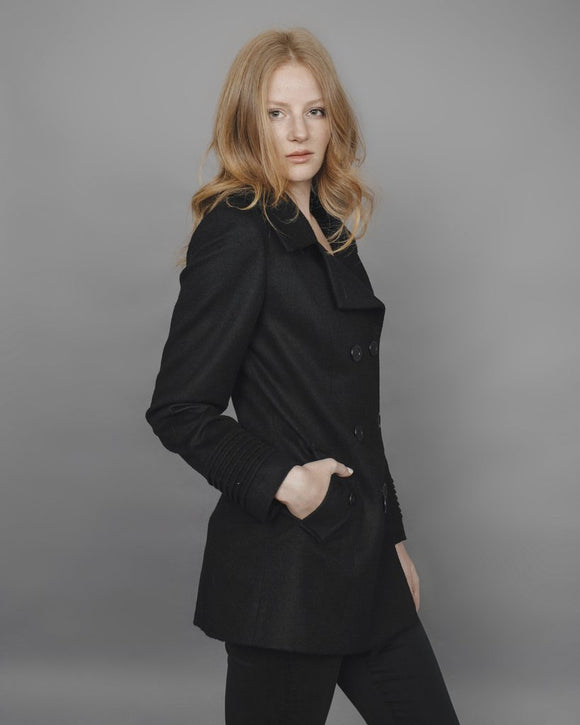 NINA Black Alpaca Wool Coat