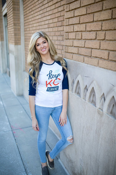 Keep KC Running | White/Navy Women's Baby Rib 3/4 Sleeve Ragla